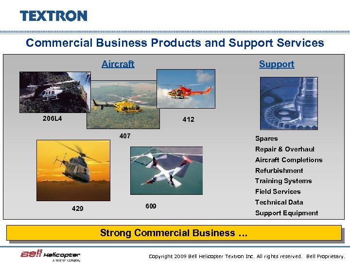 Commercial Business Products and Support Services Aircraft Support 206 L 4 412 407 Spares