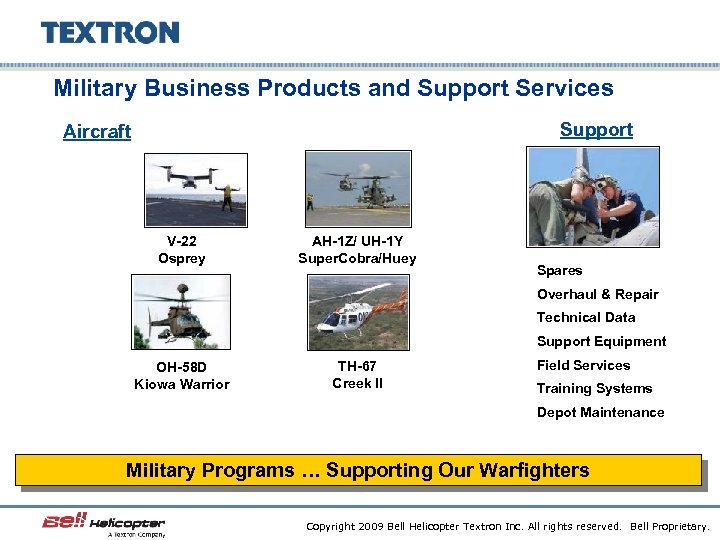 Military Business Products and Support Services Support Aircraft V-22 Osprey AH-1 Z/ UH-1 Y