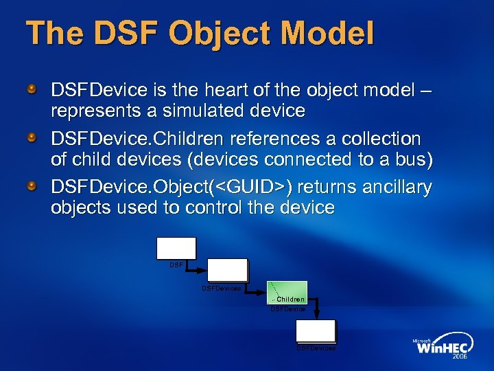 The DSF Object Model DSFDevice is the heart of the object model – represents
