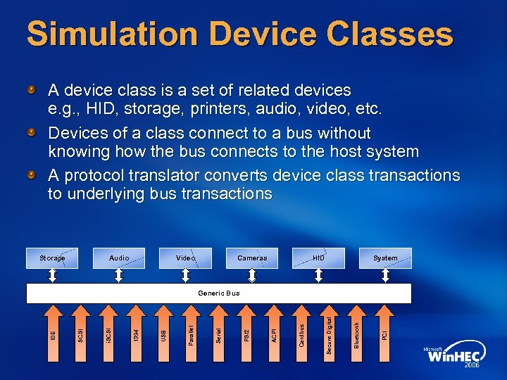 Simulation Device Classes A device class is a set of related devices e. g.