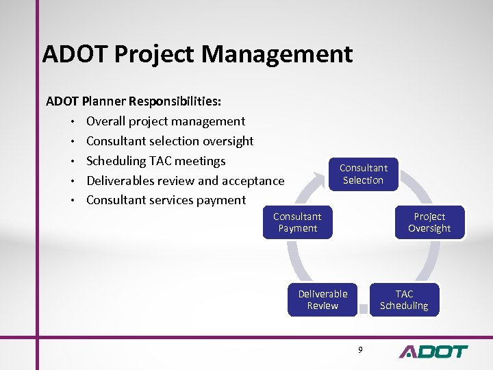 ADOT Project Management ADOT Planner Responsibilities: • Overall project management • Consultant selection oversight