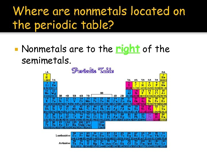 Where are nonmetals located on the periodic table? Nonmetals are to the right of