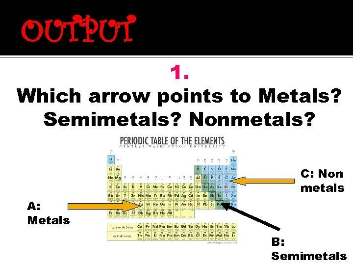 OUTPUT 1. Which arrow points to Metals? Semimetals? Nonmetals? C: Non metals A: Metals