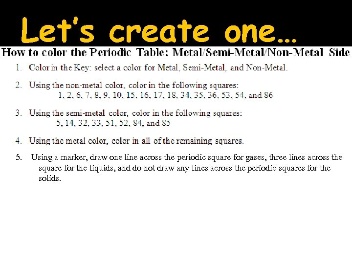 Let's create one… 5. Using a marker, draw one line across the periodic square