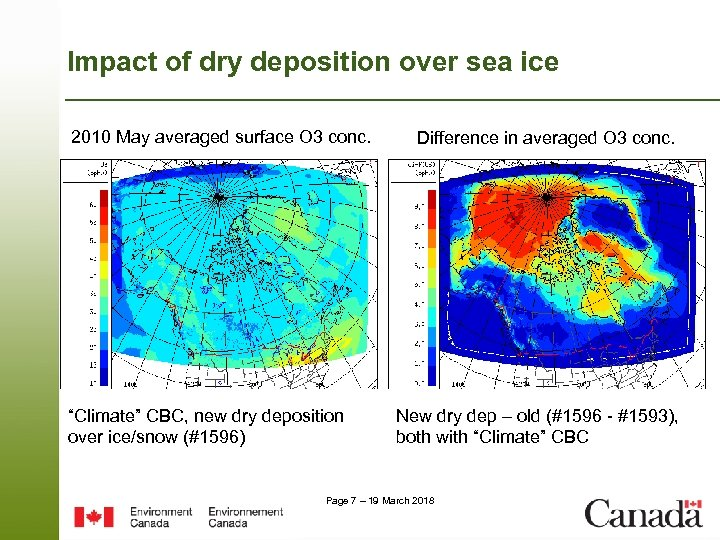 Impact of dry deposition over sea ice 2010 May averaged surface O 3 conc.