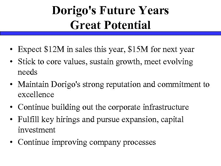 Dorigo's Future Years Great Potential • Expect $12 M in sales this year, $15