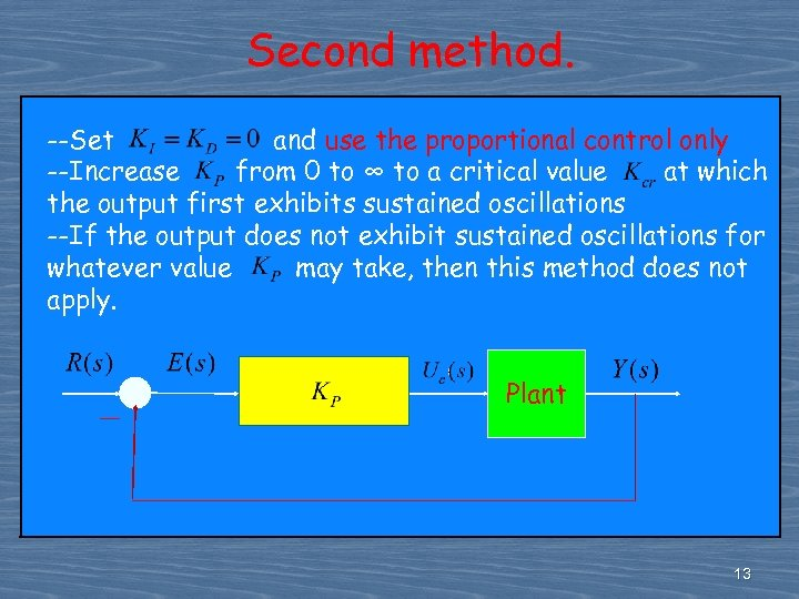 Second method. --Set and use the proportional control only --Increase from 0 to ∞