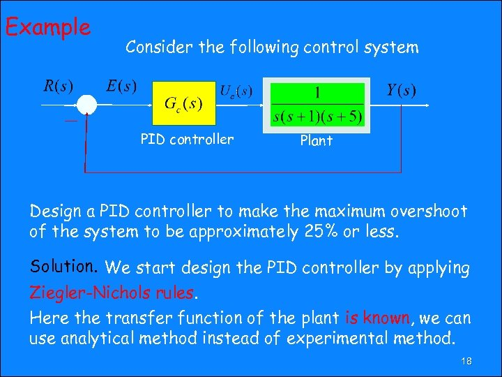 Example Consider the following control system PID controller Plant Design a PID controller to
