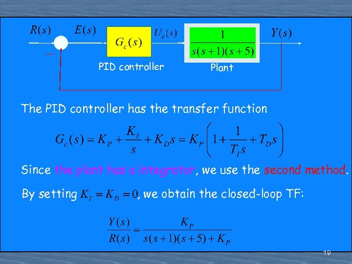 PID controller Plant The PID controller has the transfer function Since the plant has