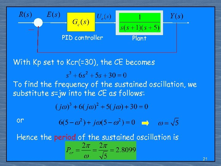 PID controller Plant With Kp set to Kcr(=30), the CE becomes To find the