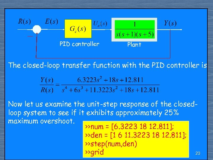 PID controller Plant The closed-loop transfer function with the PID controller is Now let