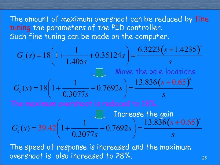 The amount of maximum overshoot can be reduced by fine tuning the parameters of