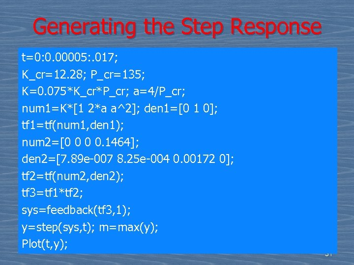 Generating the Step Response t=0: 0. 00005: . 017; K_cr=12. 28; P_cr=135; K=0. 075*K_cr*P_cr;