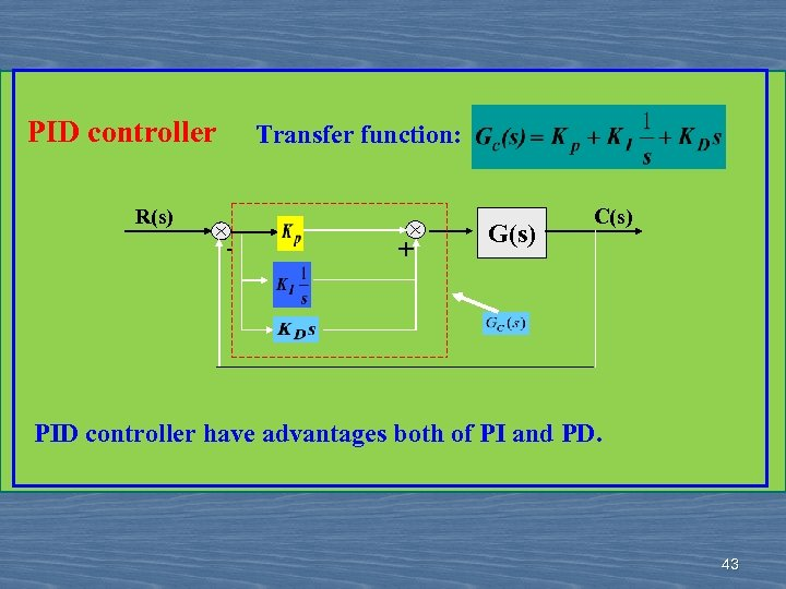 PID controller Transfer function: R(s) - + G(s) C(s) PID controller have advantages both