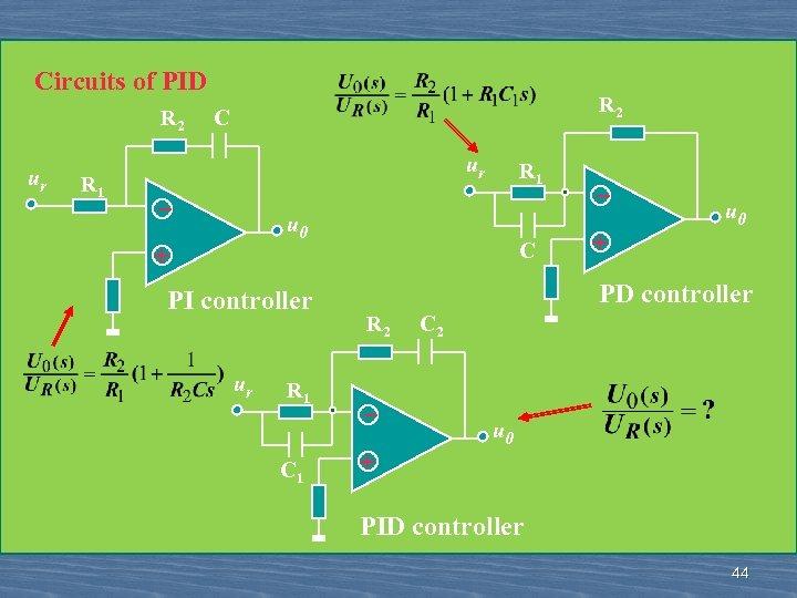 Circuits of PID R 2 ur R 1 R 2 C ur _ R