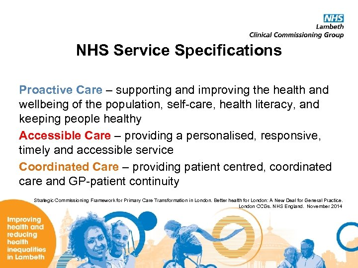 NHS Service Specifications Proactive Care – supporting and improving the health and wellbeing of