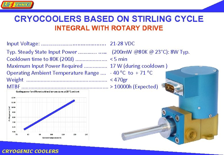 CRYOCOOLERS BASED ON STIRLING CYCLE INTEGRAL WITH ROTARY DRIVE Input Voltage: …………………… Typ. Steady