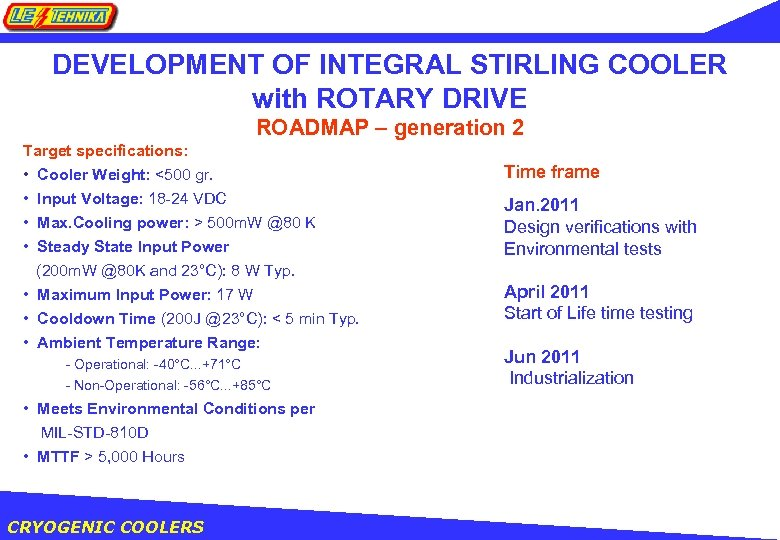 DEVELOPMENT OF INTEGRAL STIRLING COOLER with ROTARY DRIVE ROADMAP – generation 2 Target specifications: