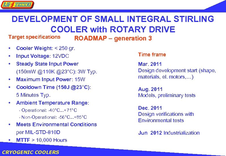 DEVELOPMENT OF SMALL INTEGRAL STIRLING COOLER with ROTARY DRIVE Target specifications • • •