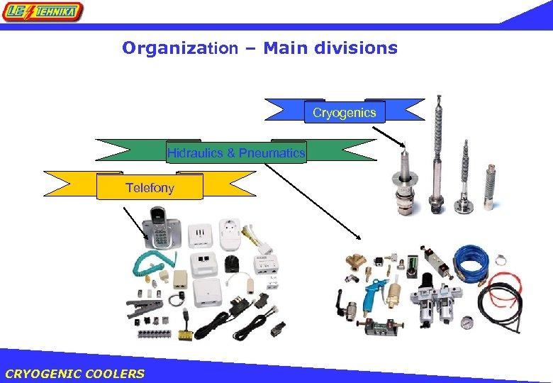 Organization – Main divisions Cryogenics Hidraulics & Pneumatics Telefony CRYOGENIC COOLERS