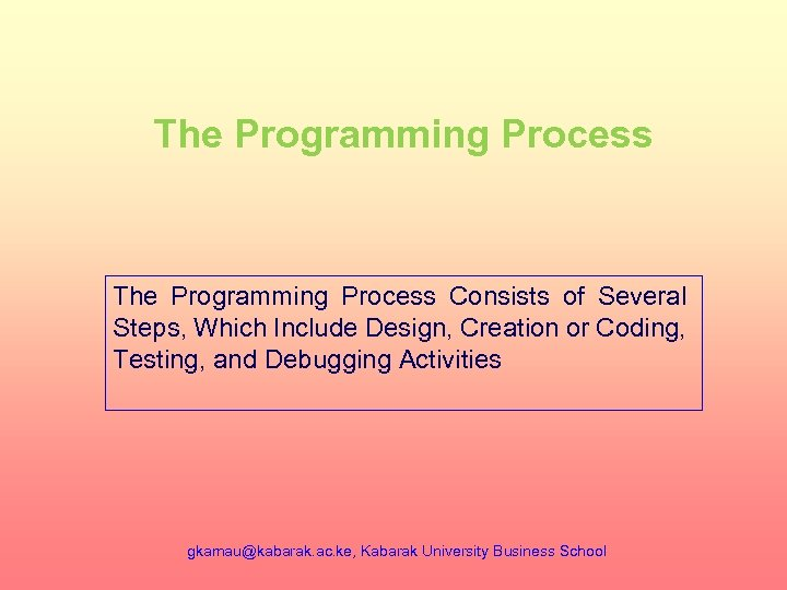 The Programming Process Consists of Several Steps, Which Include Design, Creation or Coding, Testing,