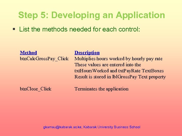 Step 5: Developing an Application § List the methods needed for each control: Method