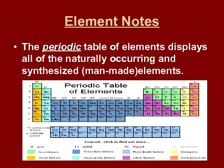 Element Notes • The periodic table of elements displays all of the naturally occurring