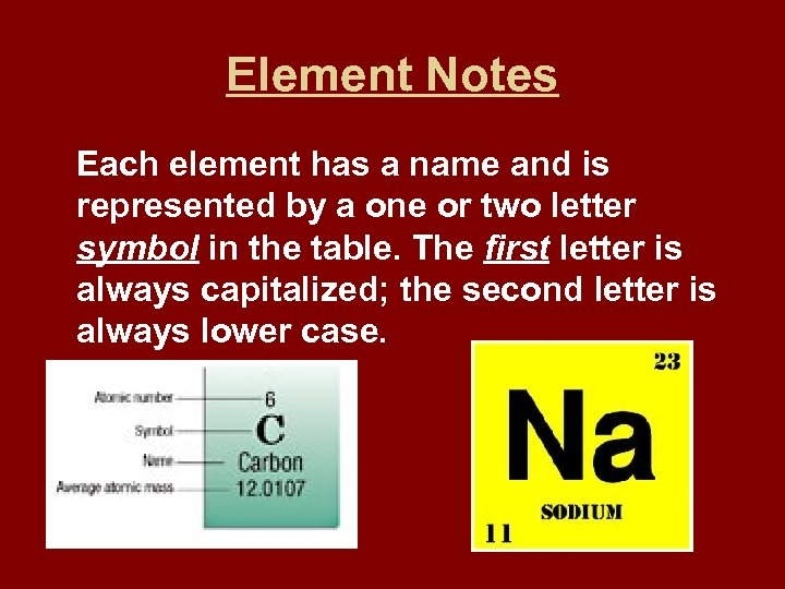 Element Notes Each element has a name and is represented by a one or