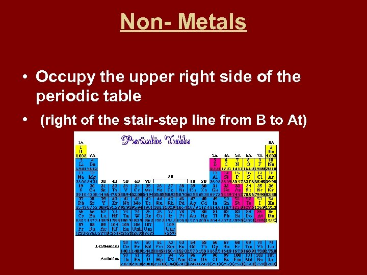 Non- Metals • Occupy the upper right side of the periodic table • (right
