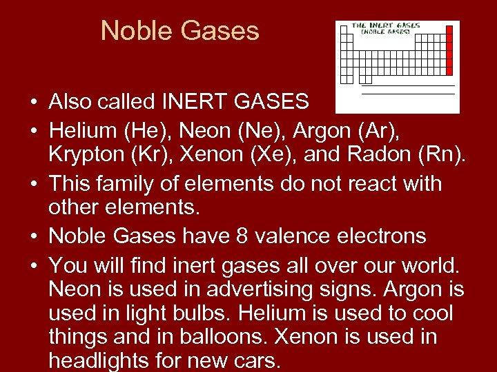Noble Gases • Also called INERT GASES • Helium (He), Neon (Ne), Argon (Ar),