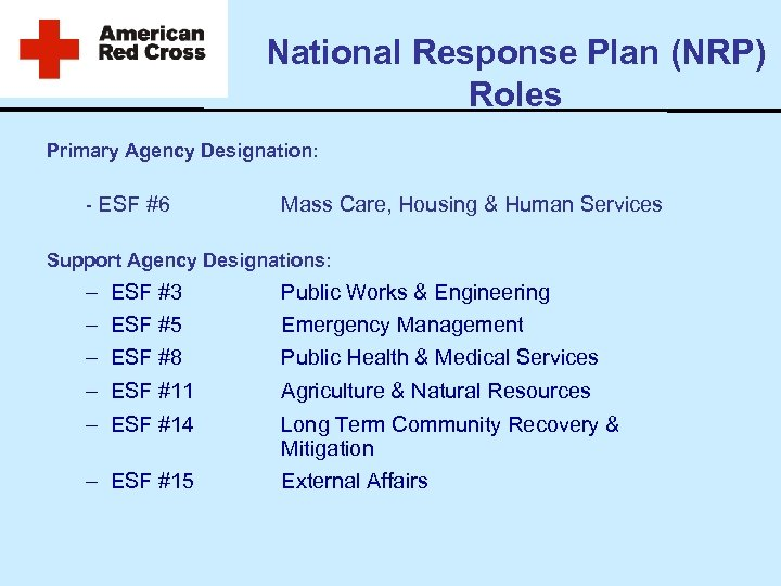 National Response Plan (NRP) Roles Primary Agency Designation: - ESF #6 Mass Care, Housing