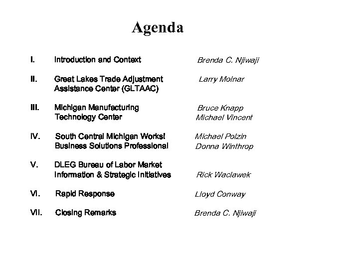 Agenda I. Introduction and Context Brenda C. Njiwaji II. Great Lakes Trade Adjustment Assistance