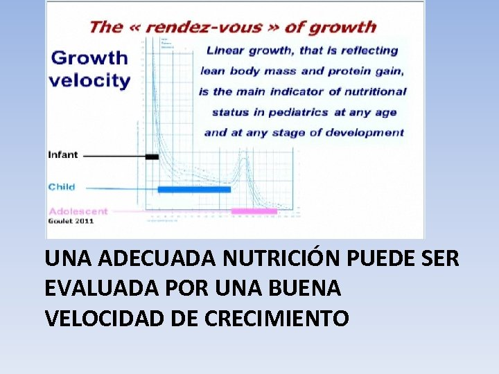 UNA ADECUADA NUTRICIÓN PUEDE SER EVALUADA POR UNA BUENA VELOCIDAD DE CRECIMIENTO