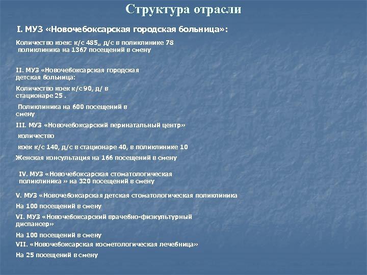 Структура отрасли I. МУЗ «Новочебоксарская городская больница» : Количество коек: к/с 485, , д/с
