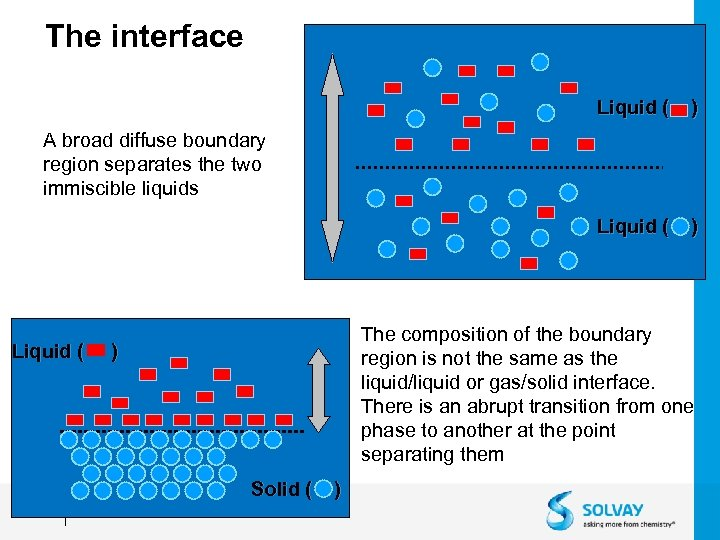 The interface Liquid ( ) A broad diffuse boundary region separates the two immiscible