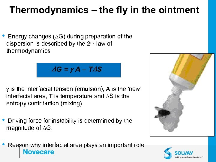 Thermodynamics – the fly in the ointment • Energy changes (DG) during preparation of