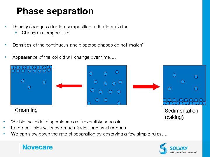 Phase separation • Density changes alter the composition of the formulation • Change in