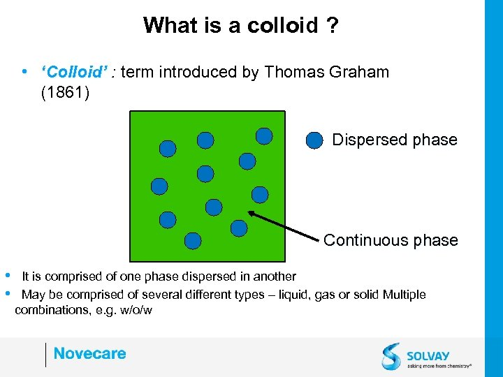 What is a colloid ? • 'Colloid' : term introduced by Thomas Graham (1861)