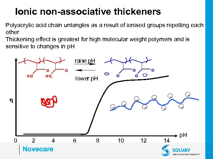 Ionic non-associative thickeners Polyacrylic acid chain untangles as a result of ionised groups repelling