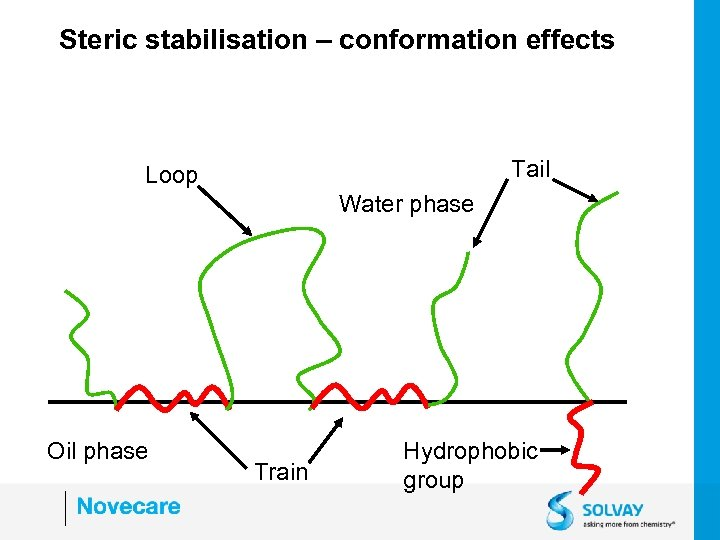 Steric stabilisation – conformation effects Tail Loop Water phase Oil phase Train Hydrophobic group
