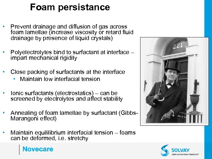Foam persistance • Prevent drainage and diffusion of gas across foam lamellae (increase viscosity