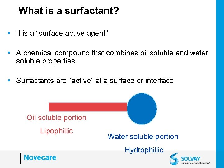 """What is a surfactant? • It is a """"surface active agent"""" • A chemical"""