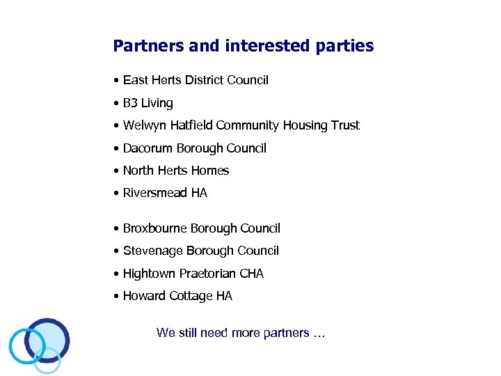 Partners and interested parties • East Herts District Council • B 3 Living •