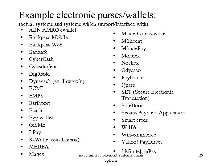 Example electronic purses/wallets: (actual systems and systems which support/interface with) • ABN AMRO ewallet