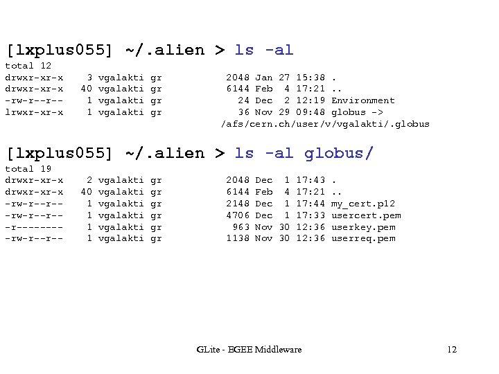 [lxplus 055] ~/. alien > ls -al total 12 drwxr-xr-x -rw-r--r-lrwxr-xr-x 3 40 1