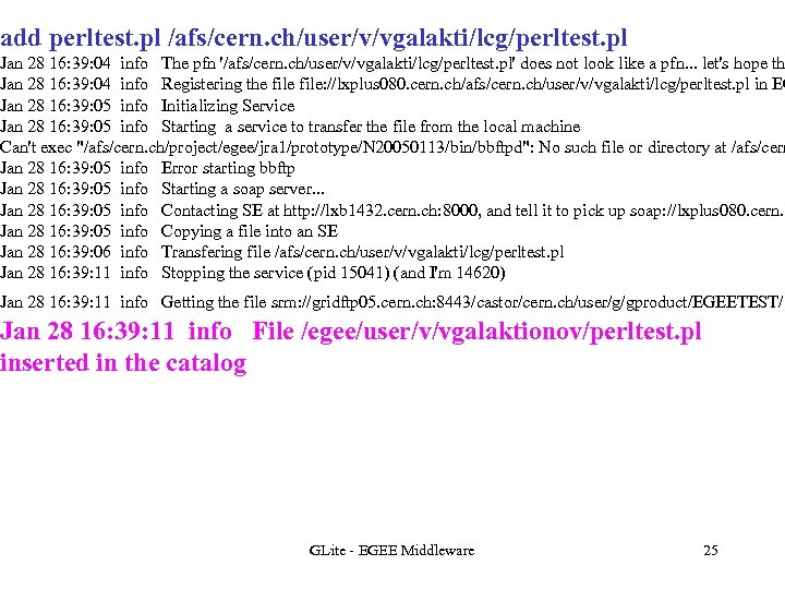 add perltest. pl /afs/cern. ch/user/v/vgalakti/lcg/perltest. pl Jan 28 16: 39: 04 info The pfn