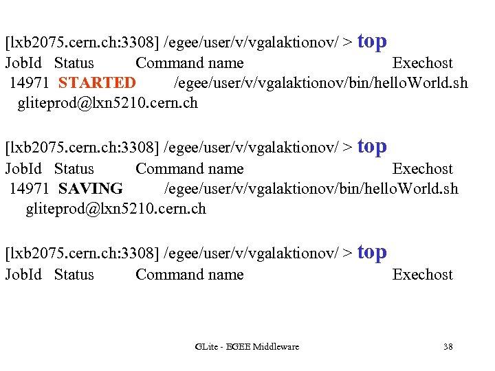 [lxb 2075. cern. ch: 3308] /egee/user/v/vgalaktionov/ > top Job. Id Status Command name Exechost