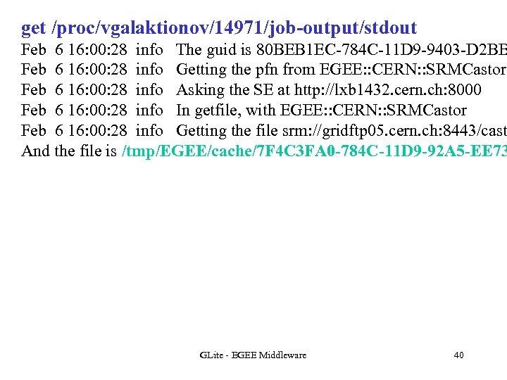 get /proc/vgalaktionov/14971/job-output/stdout Feb 6 16: 00: 28 info The guid is 80 BEB 1