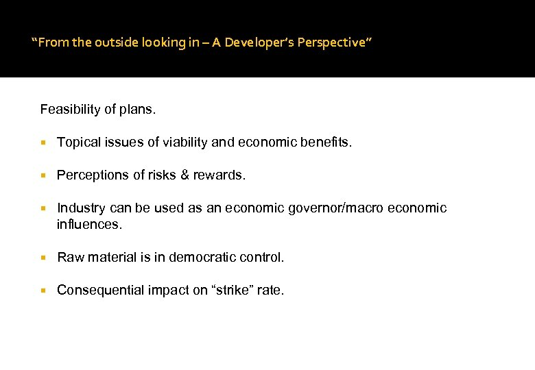 """From the outside looking in – A Developer's Perspective"" Feasibility of plans. Topical issues"