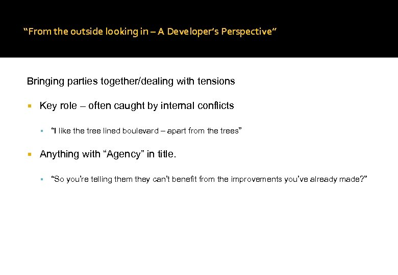 """From the outside looking in – A Developer's Perspective"" Bringing parties together/dealing with tensions"